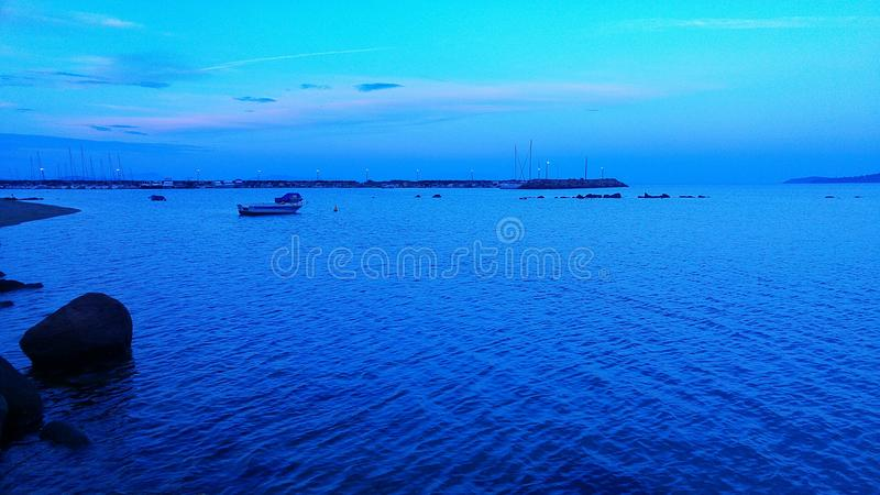 Blue and boat stock photos