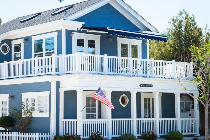 Blue boat house - Coronado, San Diego USA royalty free stock image