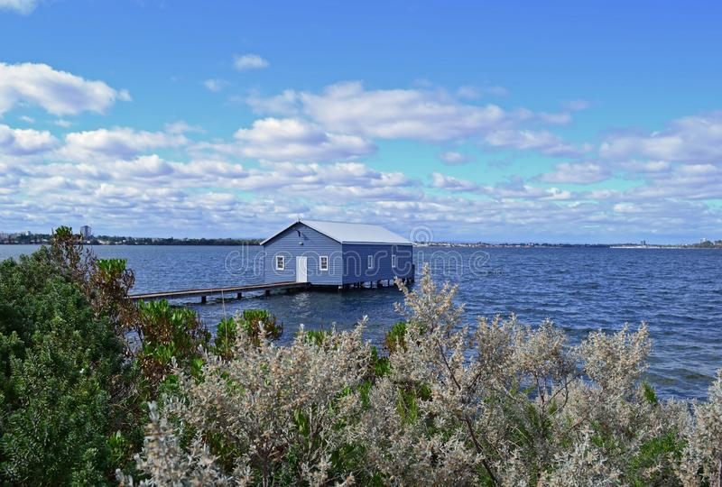The Blue Boat House. Crawley Edge Boatshed-Blue Boat House, Perth, Australia stock photo