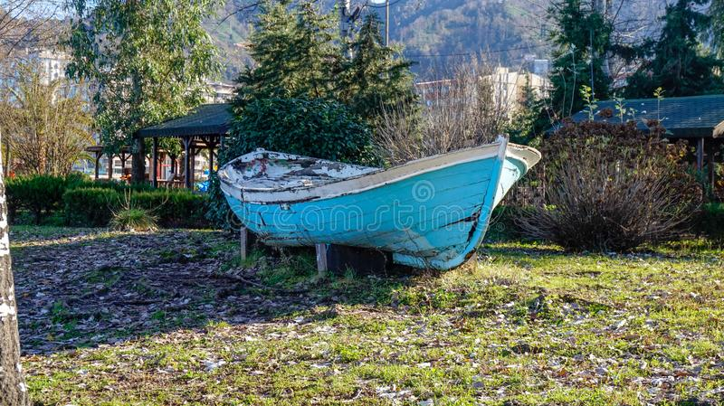 Blue boat on the road. From Turkey stock photography
