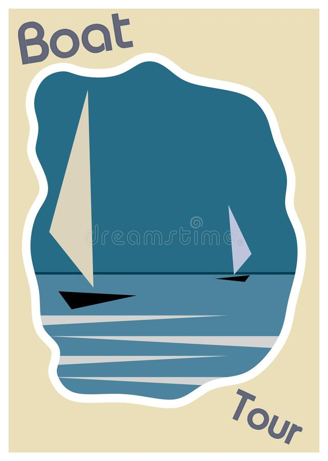 Download Blue Boat On Water Vintage Poster Frame Template Stock Illustration