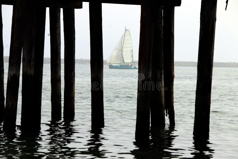 A blue boat with white sails, viewed from under Romeo Pier, Princeton, California. stock photo