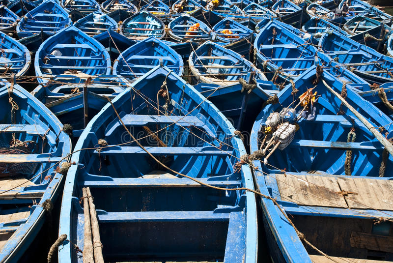Blue boats stock image