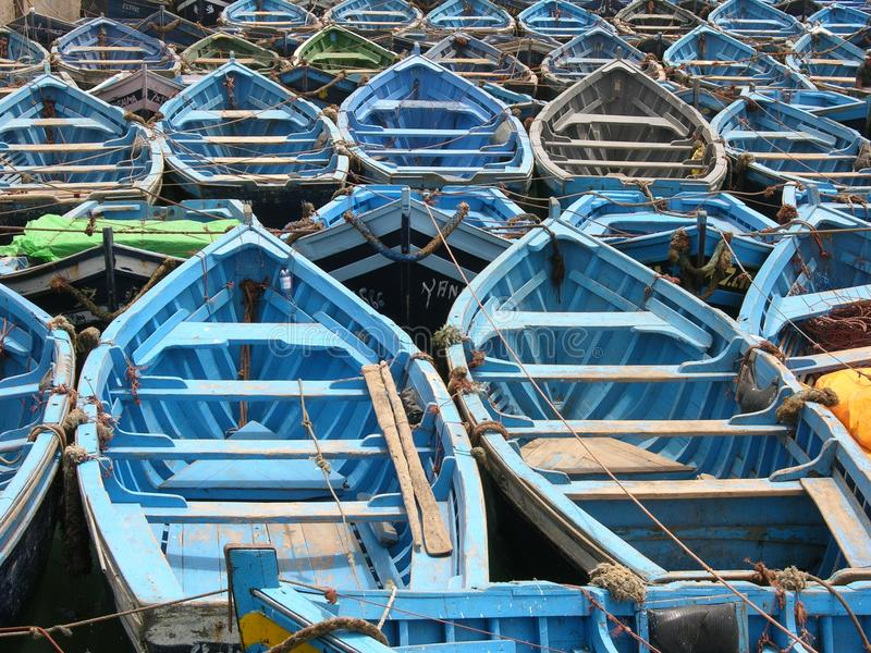 Blue boats in Essaouira, Morocco stock photo