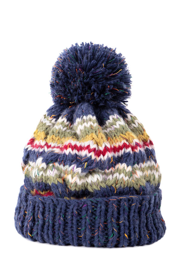 Blue winter knit hat isolated on white background royalty free stock photo