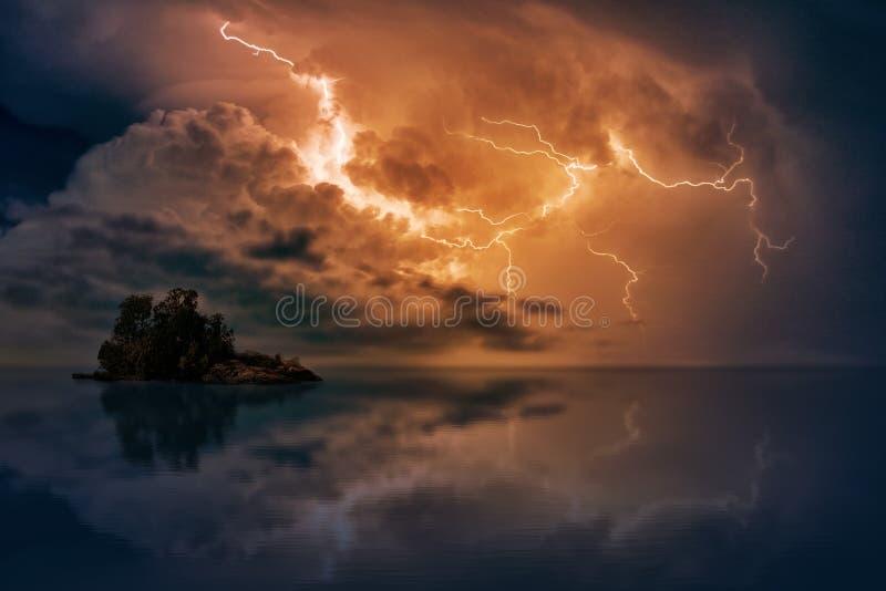 Blue Body of Water With Orange Thunder royalty free stock image