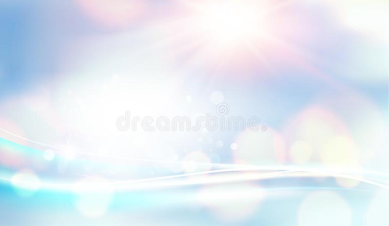 Blue bokeh abstract light background. White bokeh bubbles on the natural background. Shining space futuristic template stock illustration