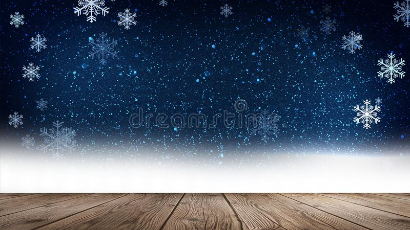 Empty winter, snow background, wooden table, empty scene of winter landscape. Abstract snowflakes, snow. stock illustration