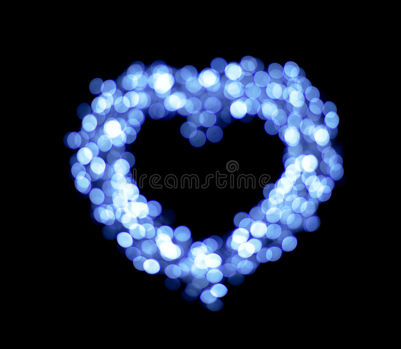 Blue bokeh heart shapes royalty free stock photo