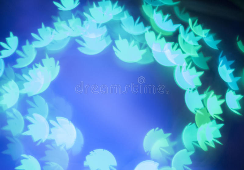 Blue bokeh lights in water lily shape royalty free stock photography