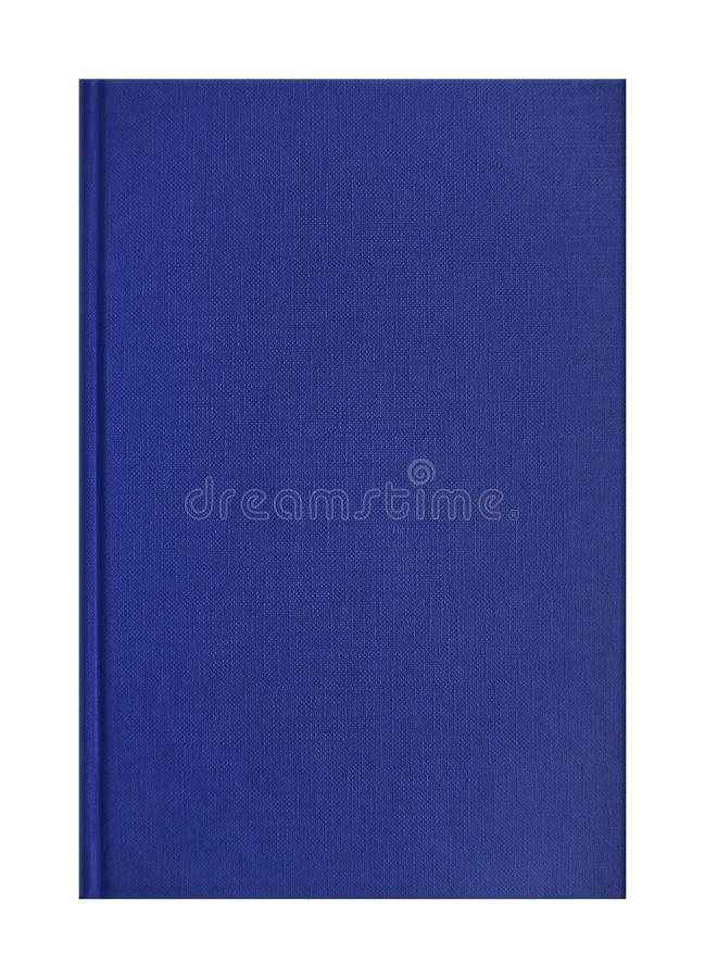 Blue book cover. Blank blue book cover with linen texture isolated on white royalty free stock image