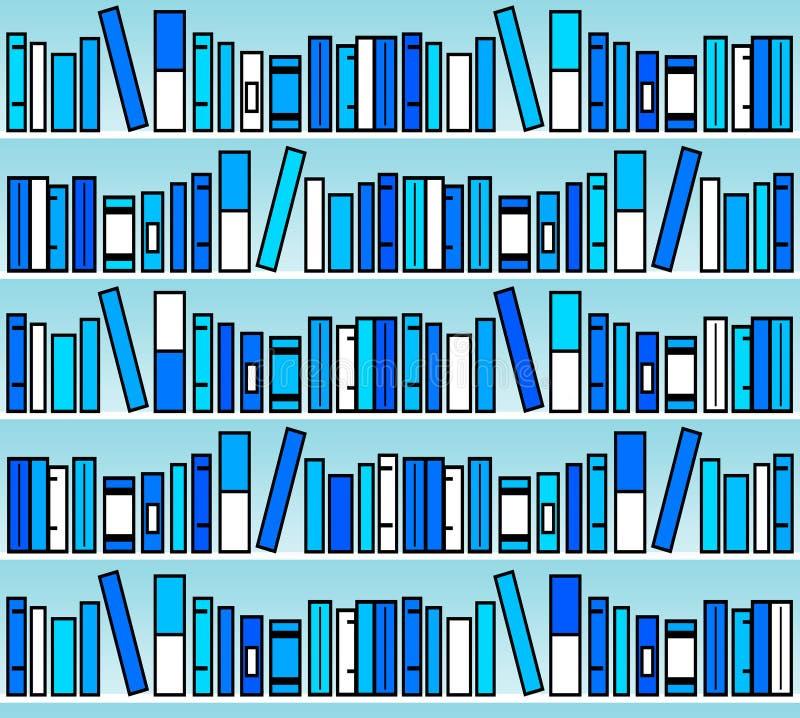 Blue books. Modern shelves with books in blue tones stock illustration