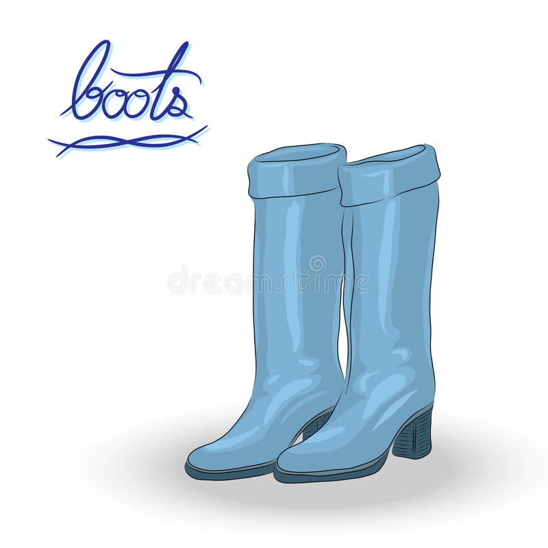 Blue boots, fashion boots in hand-drawn style. Blue boots, fashion boots, cartoon vector for decoration in hand-drawn style royalty free illustration