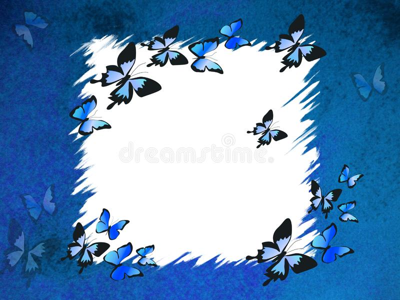 Blue border with butterflies stock photo