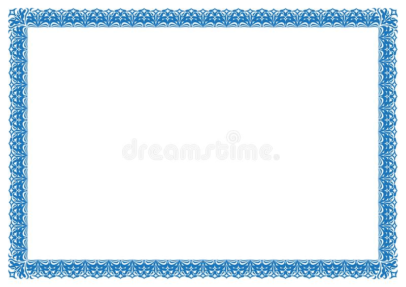Blue Border For Certificate Or Page Book Border Frame Stock Vector ...