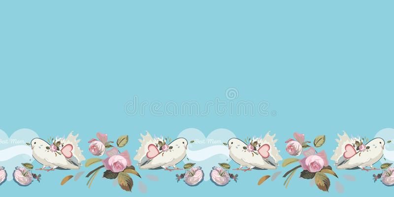 Blue border with dove, heart and rose. Blue vector repeat border with white dove, heart, typeface and vintage rose. Retro look. Mothers day royalty free illustration