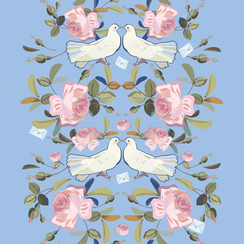 Blue border with rose and dove. Blue vector repeat border with vintage pink rose and realistic dove. Valentine & wedding pattern stock illustration