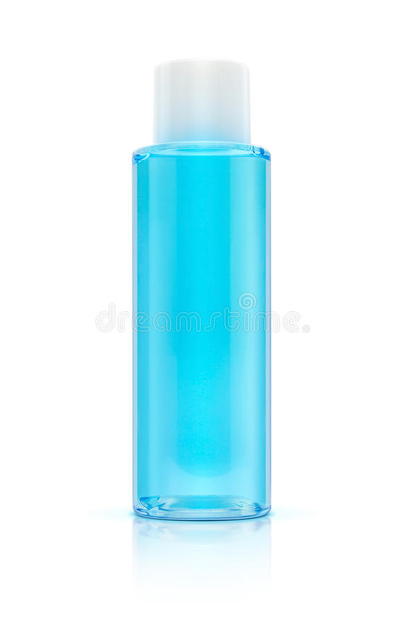 Blue bottle cosmetic packaging of toner. Isolated on white background royalty free stock images