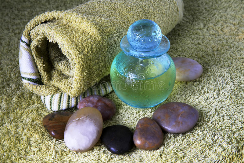 Download Blue Bottle With Massage Oil Stock Image - Image: 17126635