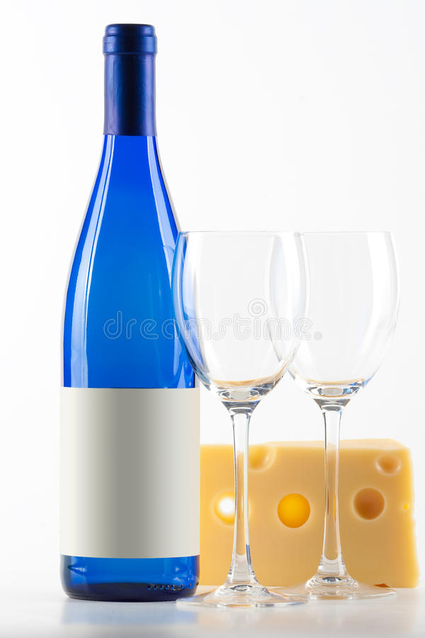 Download Blue Bottle Of White Wine, Two Wine Glasses And Ch Stock Image - Image: 11634839