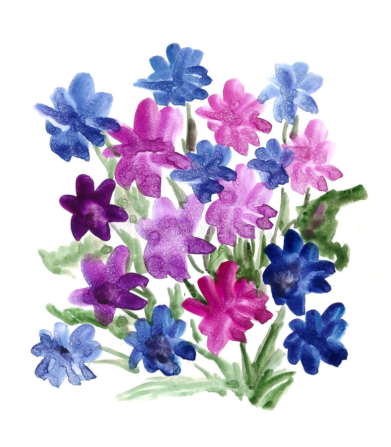 Blue Bouquet Of Flowers Painted In Watercolor Stock Illustration ...