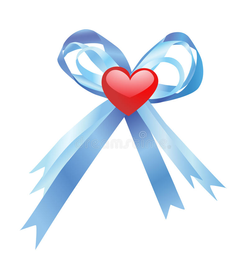 Free Blue Bow And Red Heart Stock Photography - 17781552