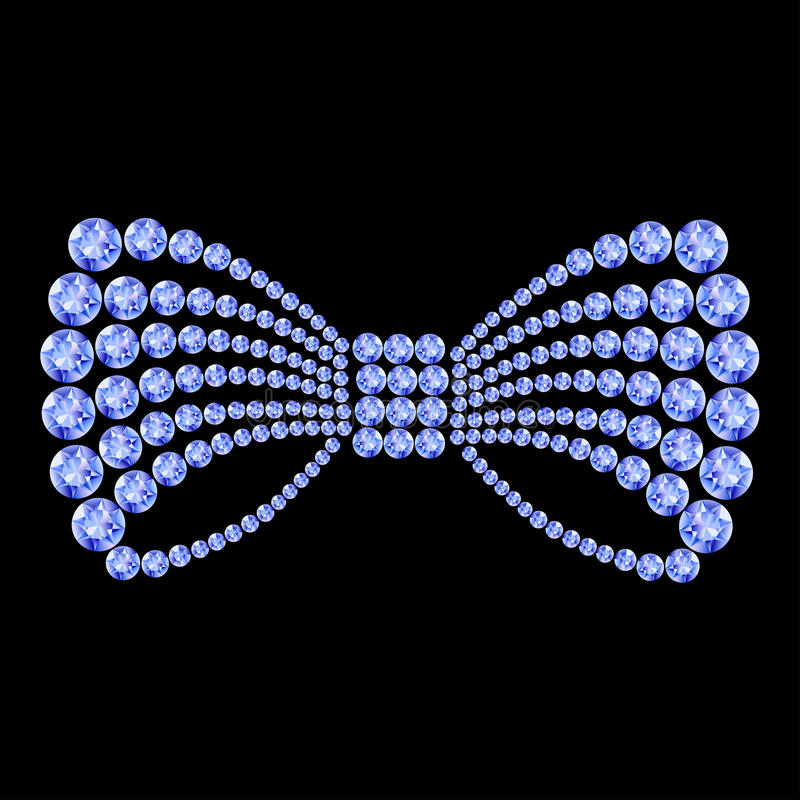 Blue bow composition. Blue gemstone bow composition royalty free illustration