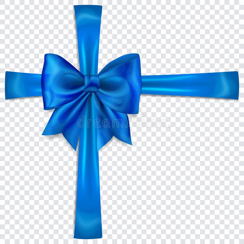 Blue bow with crosswise ribbons. Beautiful blue bow with crosswise ribbons with shadow on transparent background royalty free illustration