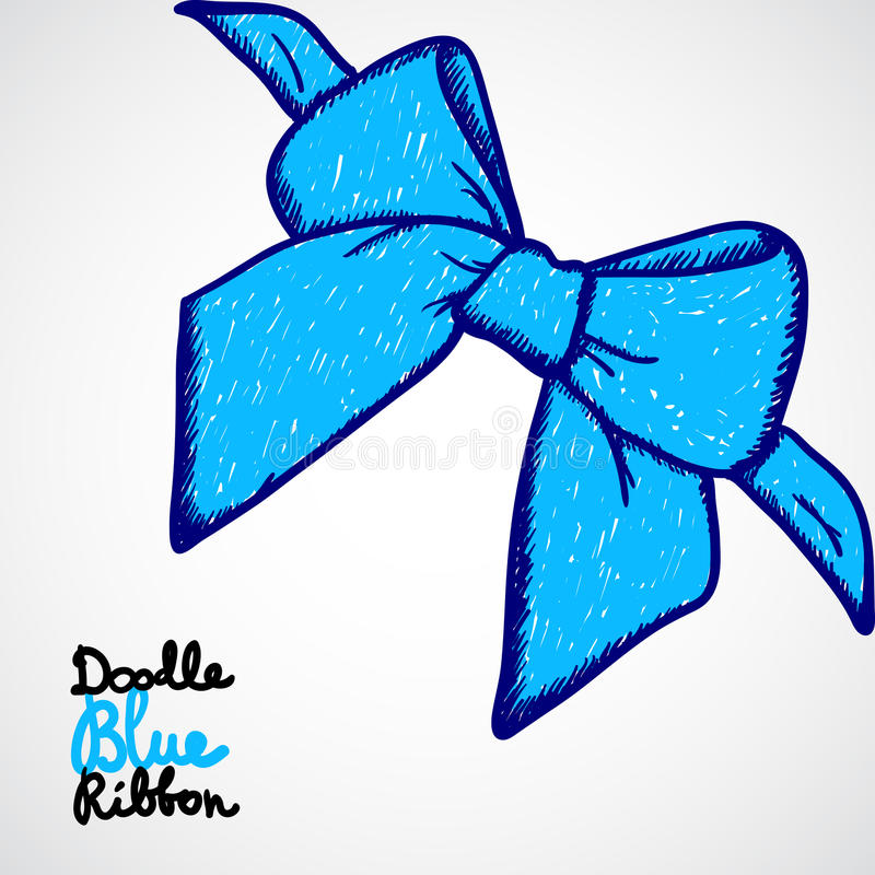 Download Blue bow. Doodle vector stock illustration. Illustration of decorate - 28648345