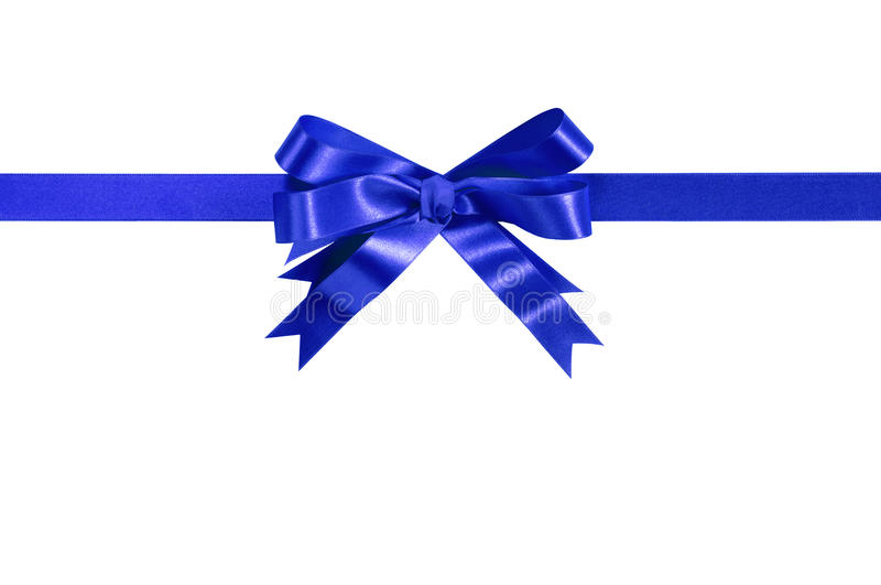 Blue bow gift ribbon straight horizontal stock images