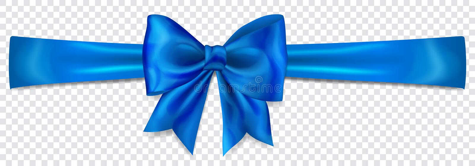 Blue bow with horizontal ribbon. Beautiful blue bow with horizontal ribbon with shadow on transparent background vector illustration