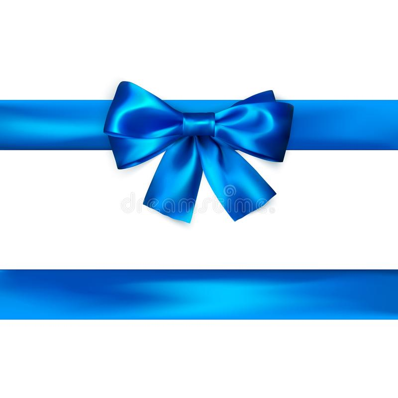 Blue bow with ribbon isolated on white background. Realistic silk bow. Decoration for gifts and packing blue bow. Vector. Illustration stock illustration