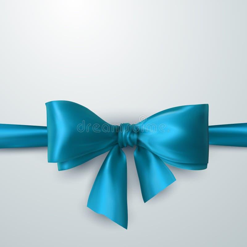 Blue Bow And Ribbon. stock illustration