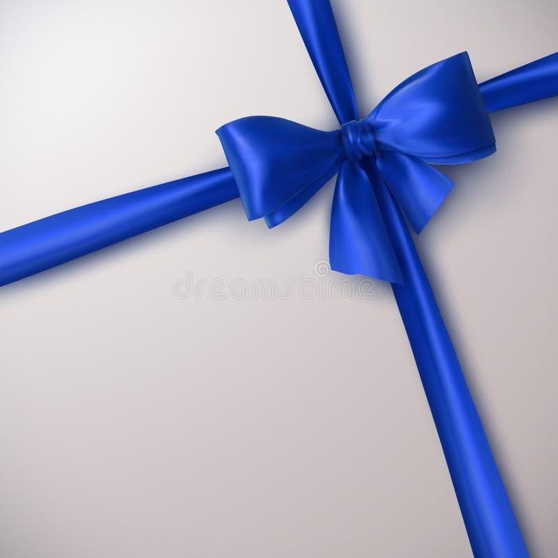 Blue Bow And Ribbon. vector illustration