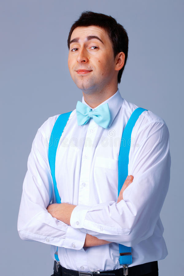 Download Blue Bow Tie and Brases. stock image. Image of cloth - 19728131