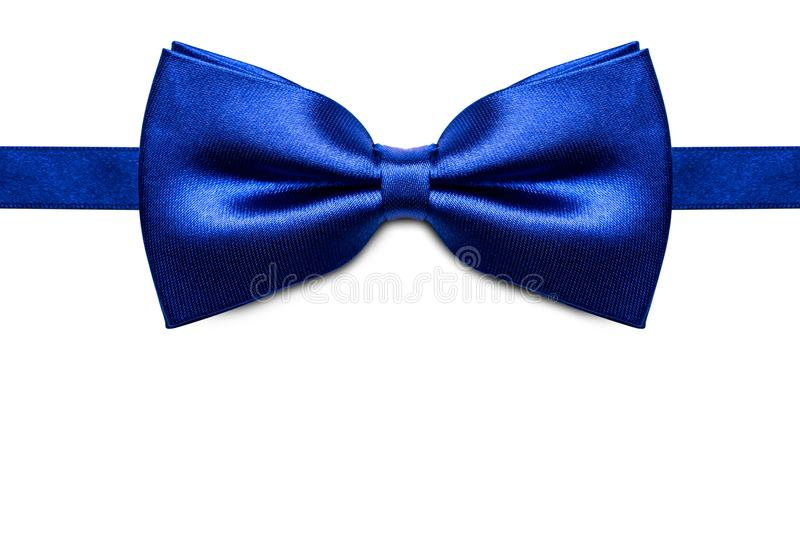 Blue bow tie isolated on white background. Blue bow tie isolated on white background stock photography