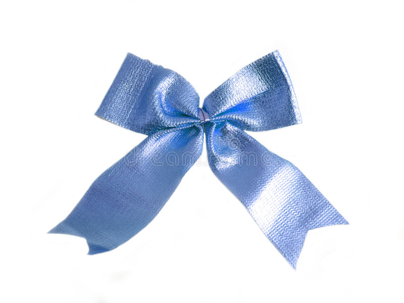 Blue bow on a white background stock photos