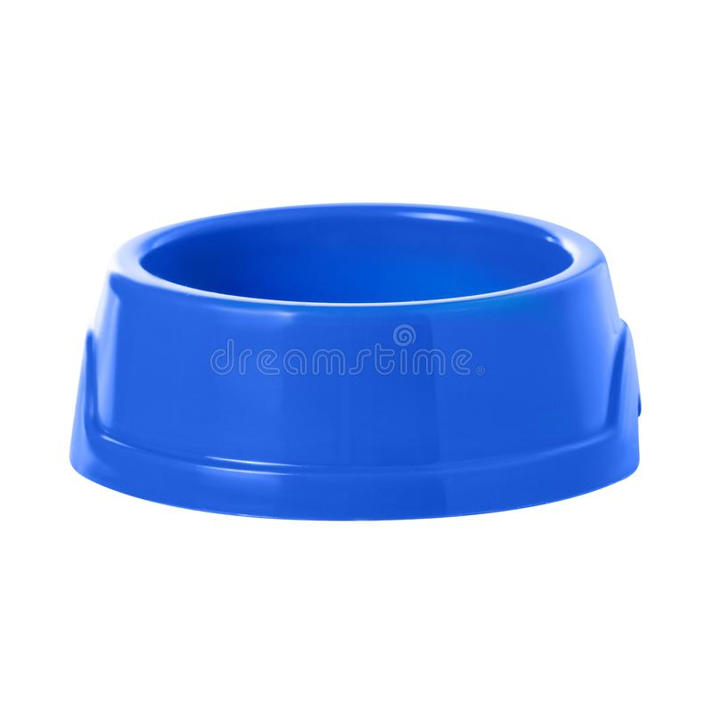 Blue bowl for food for cats and dogs. On white background isolation royalty free stock photo