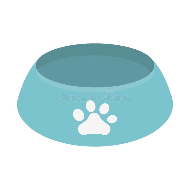 Blue bowl food dog paw print. Illustration eps 10 stock illustration