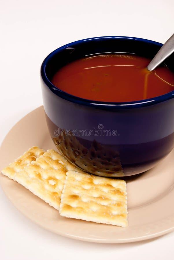 Free Blue Bowl Of Tomato Soup Royalty Free Stock Photos - 23490938