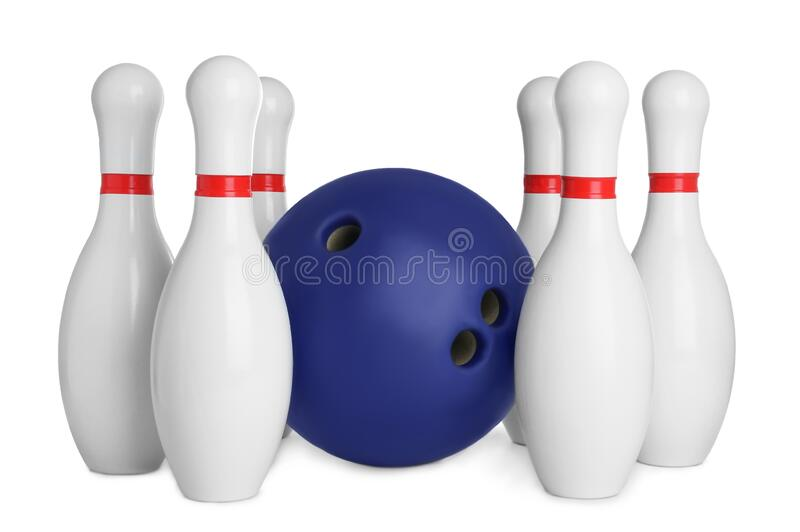 Blue bowling ball and pins isolated. On white royalty free stock image