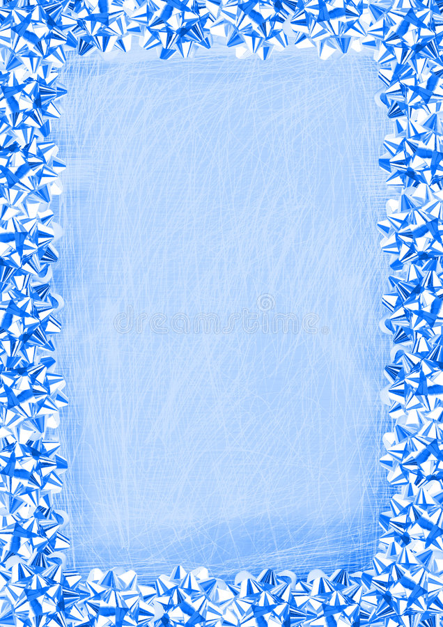 Blue Bows Border. Blue Gift Bows Border On A Grunge Scratched Background royalty free illustration