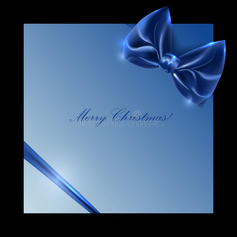 Blue box with bow and ribbon on a black background stock photo