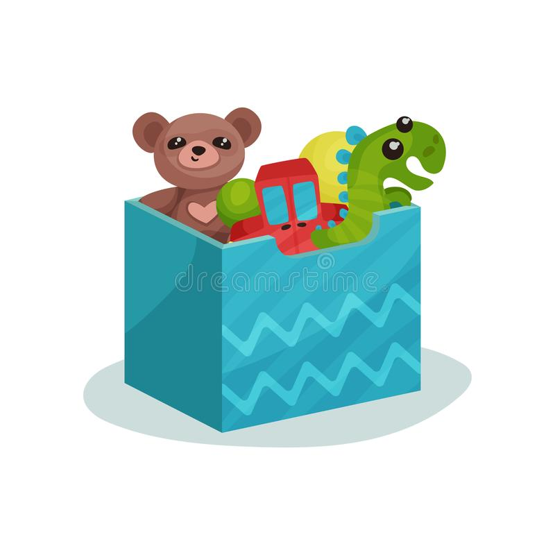 Blue box full of children toys. Brown teddy bear, green dinosaur, red car and rubber balls. Flat vector icon stock illustration