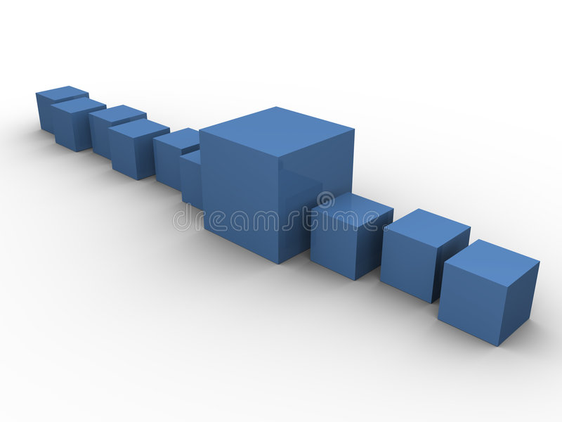 Blue boxes aligned 2. Blue boxes in different sizes aligned on a white background. Made in 3d vector illustration