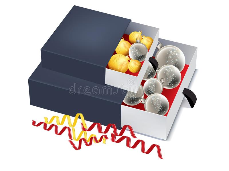 Blue boxes with gold and silver baubles - packaging isolated stock illustration