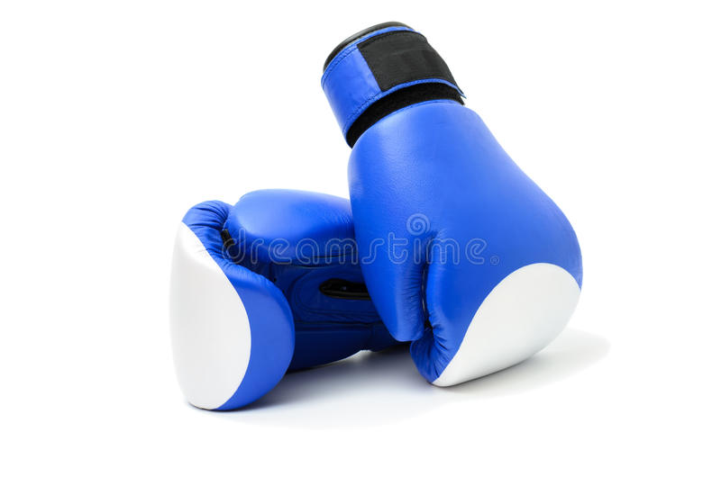 Blue boxing gloves. Isolated on white background stock photos