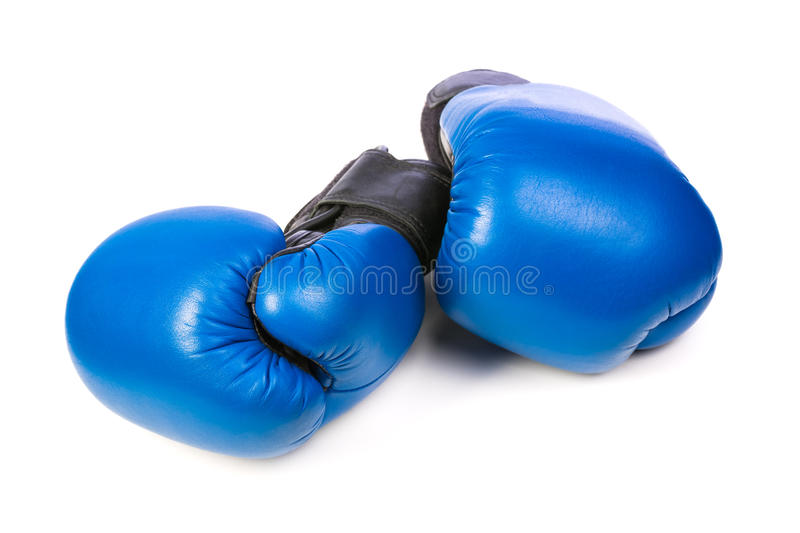 Blue boxing gloves. On white background stock photo