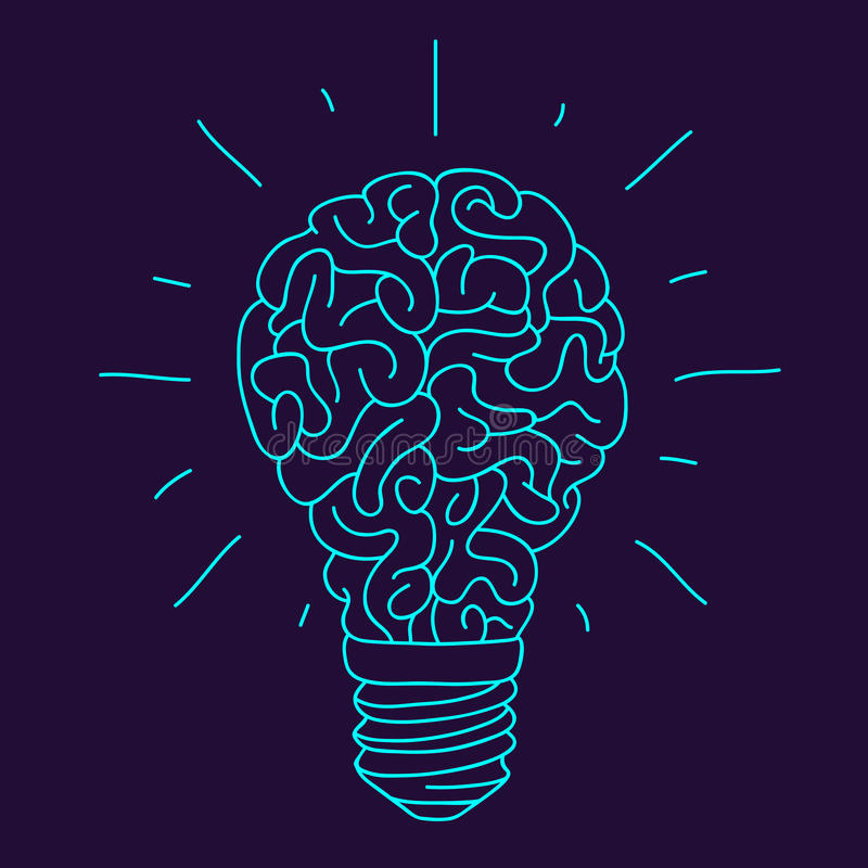 Download blue brain in the form of a burning light bulb stock vector illustration of