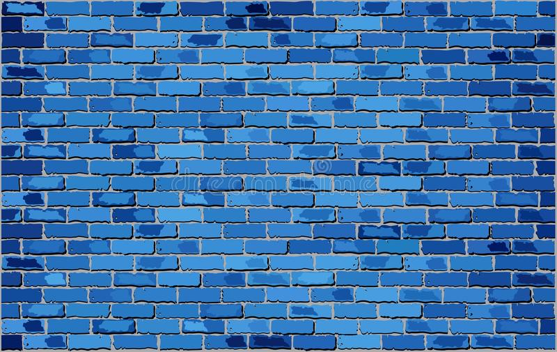 Blue Brick Wall. Retro blue brick wall Vector, Seamless realistic blue brick wall, Brick wall background, Abstract vector illustration stock illustration